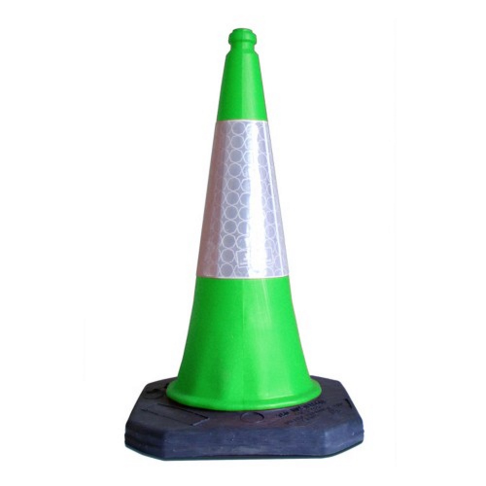 Green and white road traffic cone